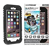 Action Case waterproof iPhone 6 Case w/ Snow, Dirt, Dust, Mud, Sand, Weather, & Shock Proof construction, Adjustable Neck Strap, & Locking Seal Tested at IP68 Standards (Basic Black) by Rebelite