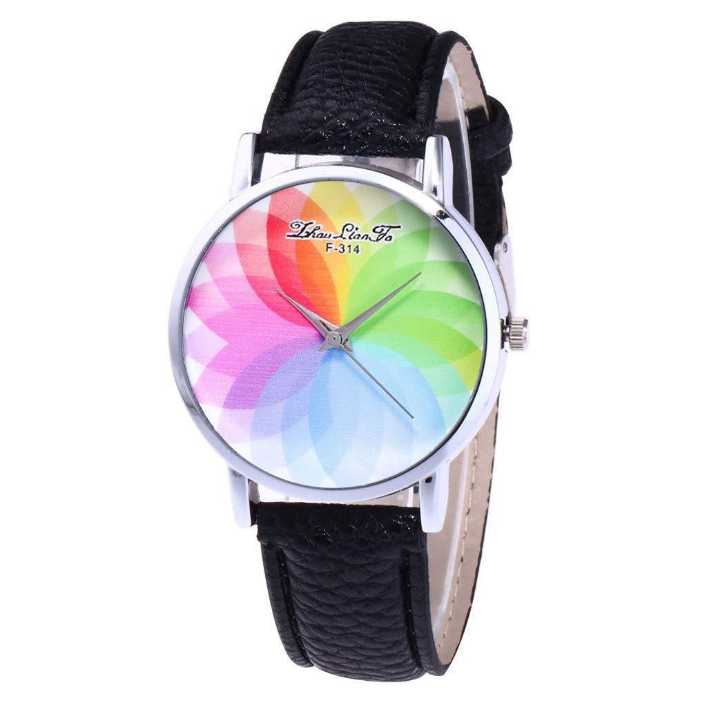 LIEJIE Women's Fashion Casual PU Leather Strap Analog Quartz Round Watches Bling Rhinestone Accented Leather Strap Casual Dress Watch (Black)