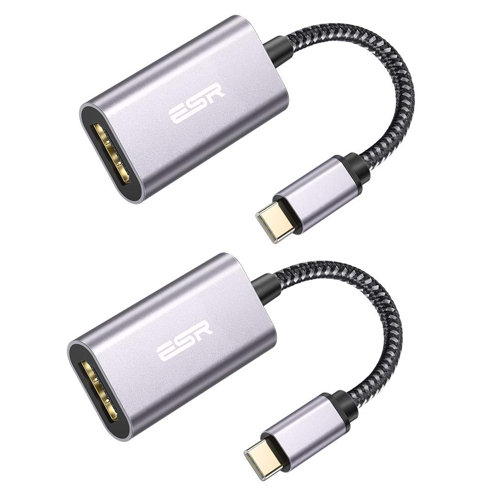 ESR USB C to HDMI Adapter [4K at 30 Hz] (Thunderbolt 3) Braided Nylon Portable Type-C Converter, Compatible with MacBook Pro/Air,iPadAir 4, iPad Pro 2018, Galaxy S20/S10/S9/Note 10/Note 9, 2 Pack