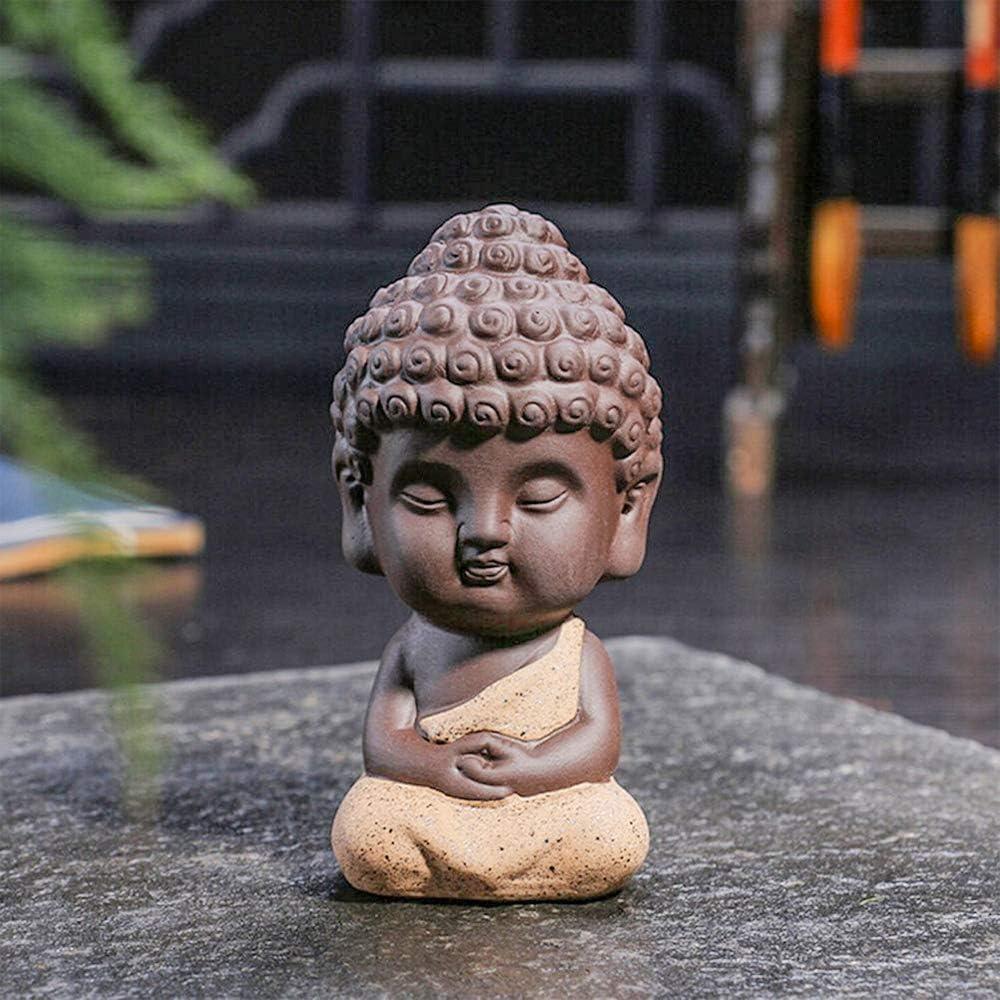 One Cute Small Buddha Statue, Ceramic Little Cute Buddha Statue, Adorable Monk Figurine Tathagata, India Yoga Mandala Sculptures, Decoration for Office, Bedroom, Living Room, etc.