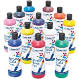 Super Value Bumper Pack of Acrylic Paint for Children - 12 bottles in Assorted Colours. Creative Adult Kids Crafting Supplies (Pack of 12 - 175ml Each)