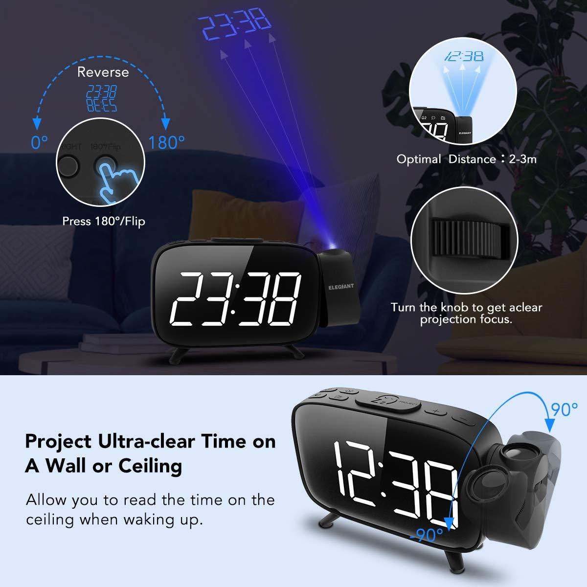 ELEGIANT Reloj Despertador Digital Proyector con FM Radio, Brillo 3 Niveles Atenuador 7 Alarmas de 6 Volúmenes Proyector 180 ° Pantalla Plegable, ...