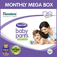 Himalaya Total Care Baby Pants Diapers Monthly Mega Box, Medium (162 Count)