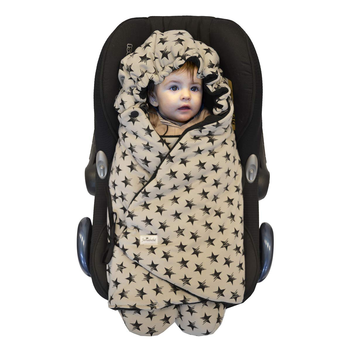 JANABEBE Swaddling Wrap, Car Seat and Pram Blanket Universal for Infant and Child car Seats e.g. Maxi-COSI, Britax, for a Pushchair/Stroller, Buggy or Baby 0 to 11 Months (Dark Sky, Fleece)