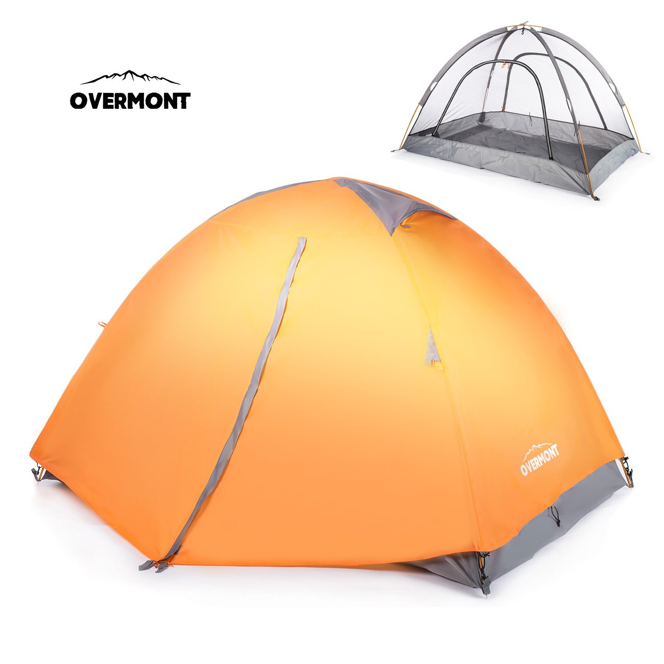 Overmont 2 Person Camping Tent Compact Portable Folding Waterproof Double Layer for Outdoor Hiking Backpacking Climbing Travel Green 210*140*115cm