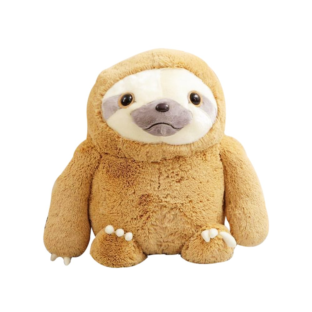 Crazy lin Lovely Sloth Cushion Stuffed Plush Soft Animal Pillow Toys (Brown, 40cm)