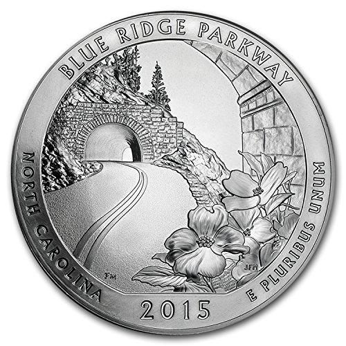 2015 5 Oz Silver Atb Blue Ridge National Parkway  Nc Silver Brilliant Uncirculated