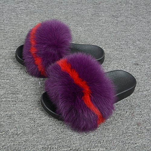 Outdoor Soles Real Slides Flat Indoor Fur Women Max Soft Summer Fluffy Slippers Mix Red Shoes Purple Jancoco Yqp8vExY