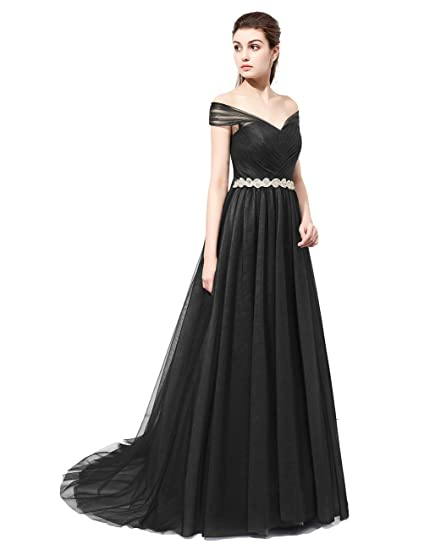 Dresstells reg; Long Tulle Off Shoulder Prom Dress with Ruffles Evening Party Dress