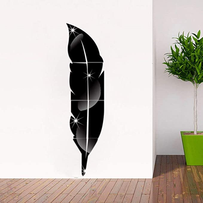 Amazon.com: Mirror Wall Stickers Home Decor Living Room Feather Diy ...