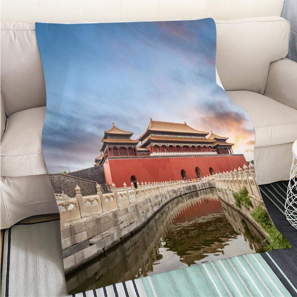 color3 59 x 80in BEICICI Art Design Photos Cool Quilt The Forbidden City in Sunset Fashion Ultra Cozy Flannel Blanket