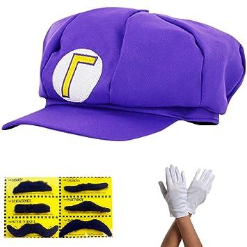 Super Mario Gorra Waluigi - Disfraz para Adultos y niños en 4 Colores  Diferentes + Guantes 3e5700bd82e