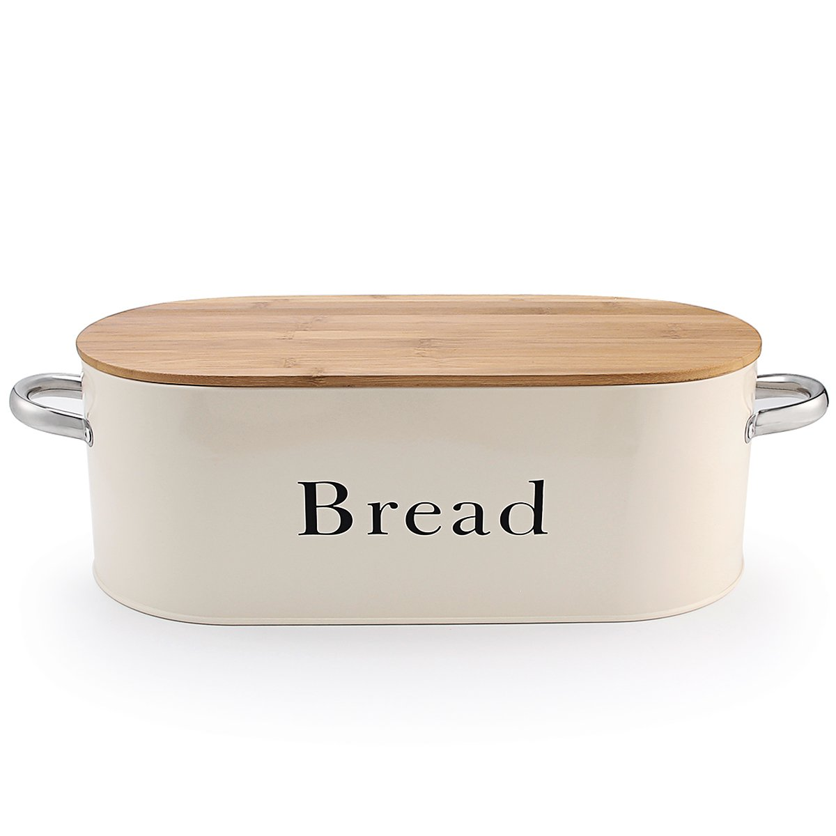 SveBake Bread Box for Kitchen Counter Vintage & Retro Metal Bread Bin with Bamboo Lid and Handle, Cream (Included a Free PDF Baking E-BOOK)