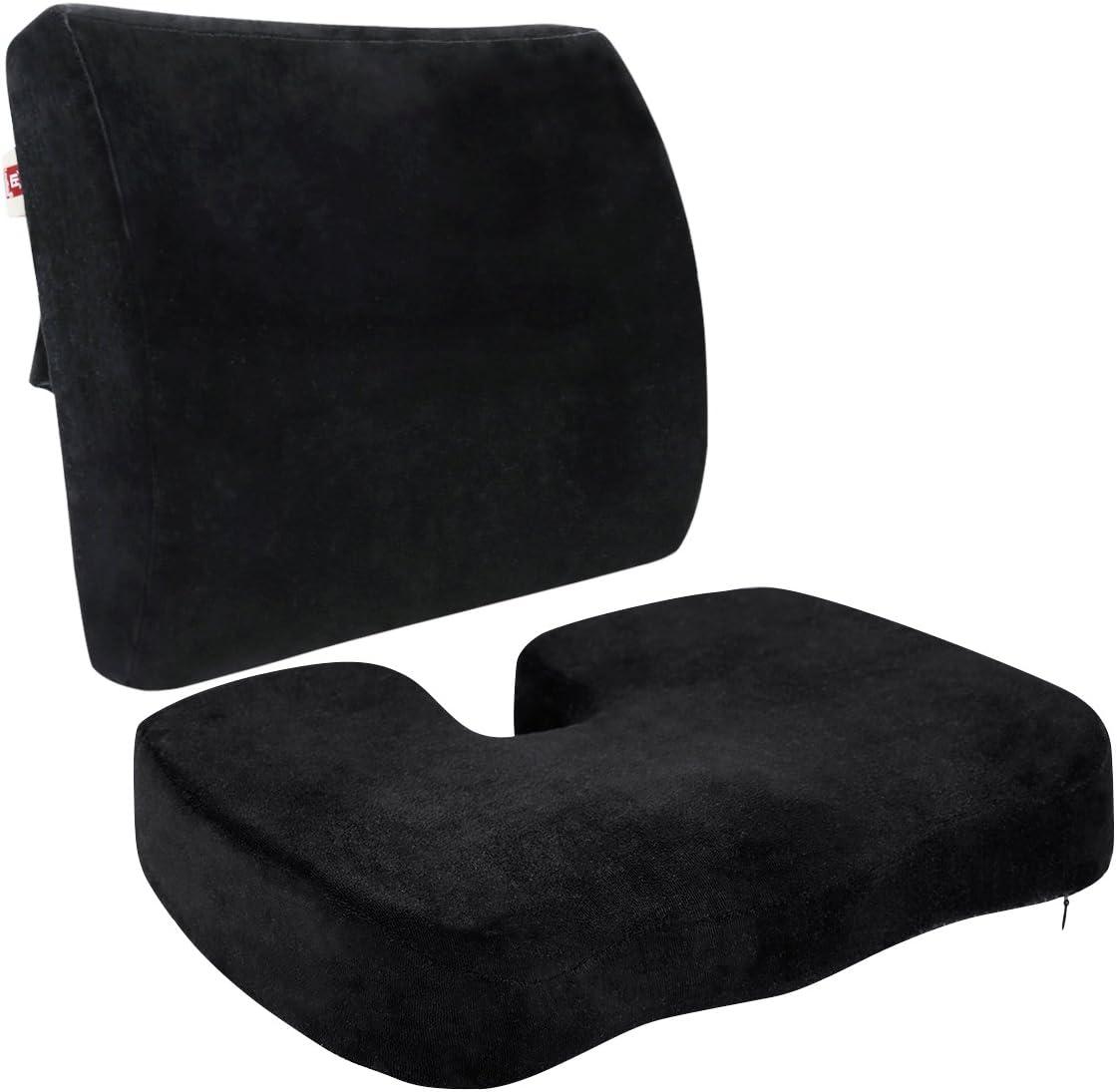 LoveHome coxis Ortopédica Espuma de asiento Cojín y respaldo para parte inferior de la espalda ciática, alivio de dolor pélvico para la conducción, oficina, color ne