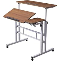 HOSEOKA Mobile Stand Up Desk, Adjustable Laptop Desk with Wheels Rolling Table Home Office Workstation, Laptop Cart for…
