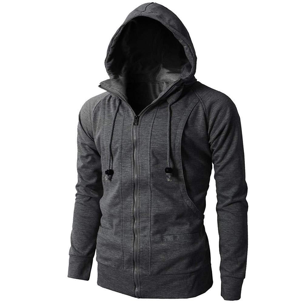 Zipper Fleece Sports Sweatshirt Hoodie Jacket Tops Colmkley Mens Casual Hooded