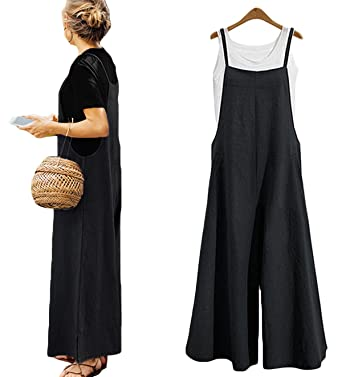 ba3c8ca203 Women's Loose Linen Suspender Trousers Wide Leg Overalls Jumpsuit Romper  Harem Pants Plus Size (US