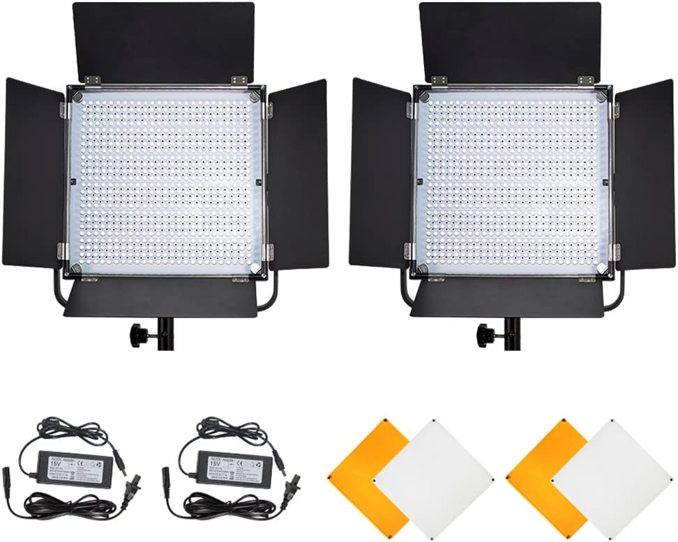 PIXEL K80 LED Video Light Kit 2 Pack, Photography LED Studio Lighting Dimmable 600 Bulbs, Lighting Stand Kit 3200k or 5600K CRI 95+ for Portrait Photography Youtube News Wedding TV Outdoor Shooting: