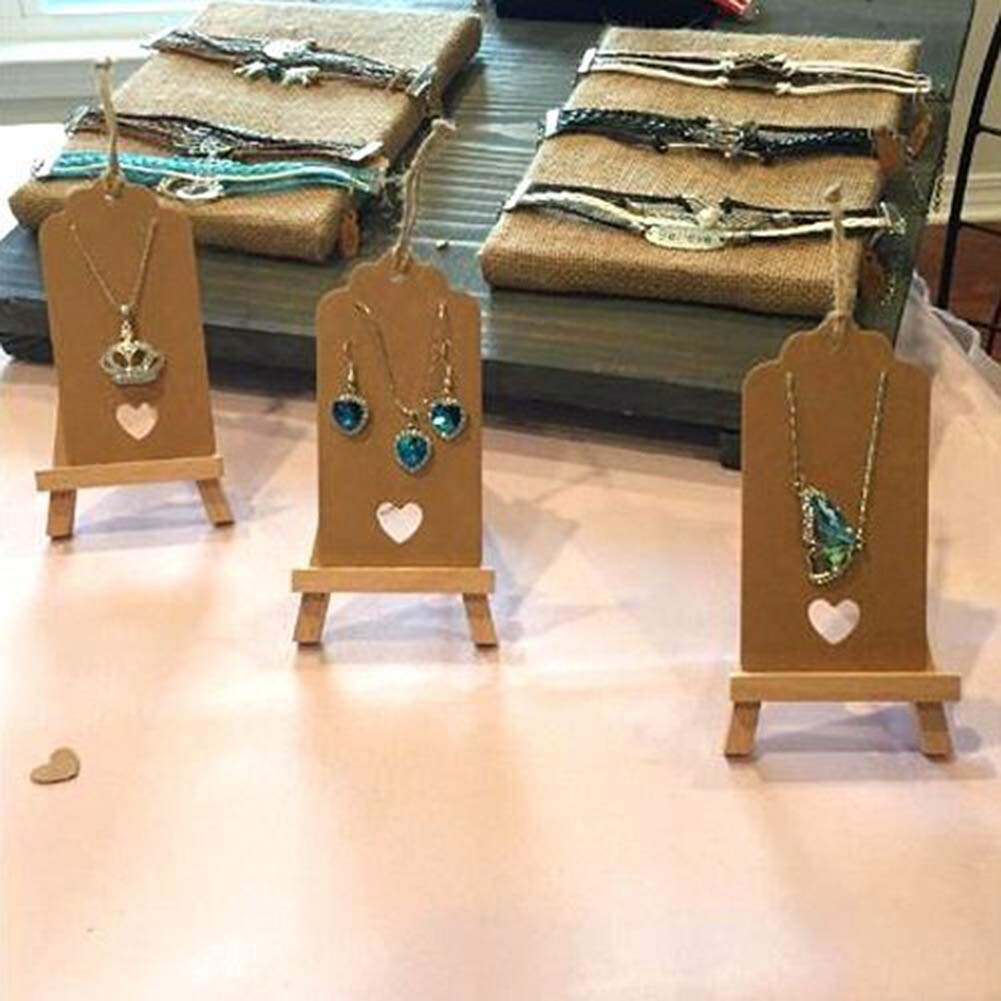 100 Pieces Gift Tags Kraft Paper Tags Jewellery Kraft Paper Tags with Punched Heart Name Tags Brown Hang Tag Pirce Tags with String for Christmas