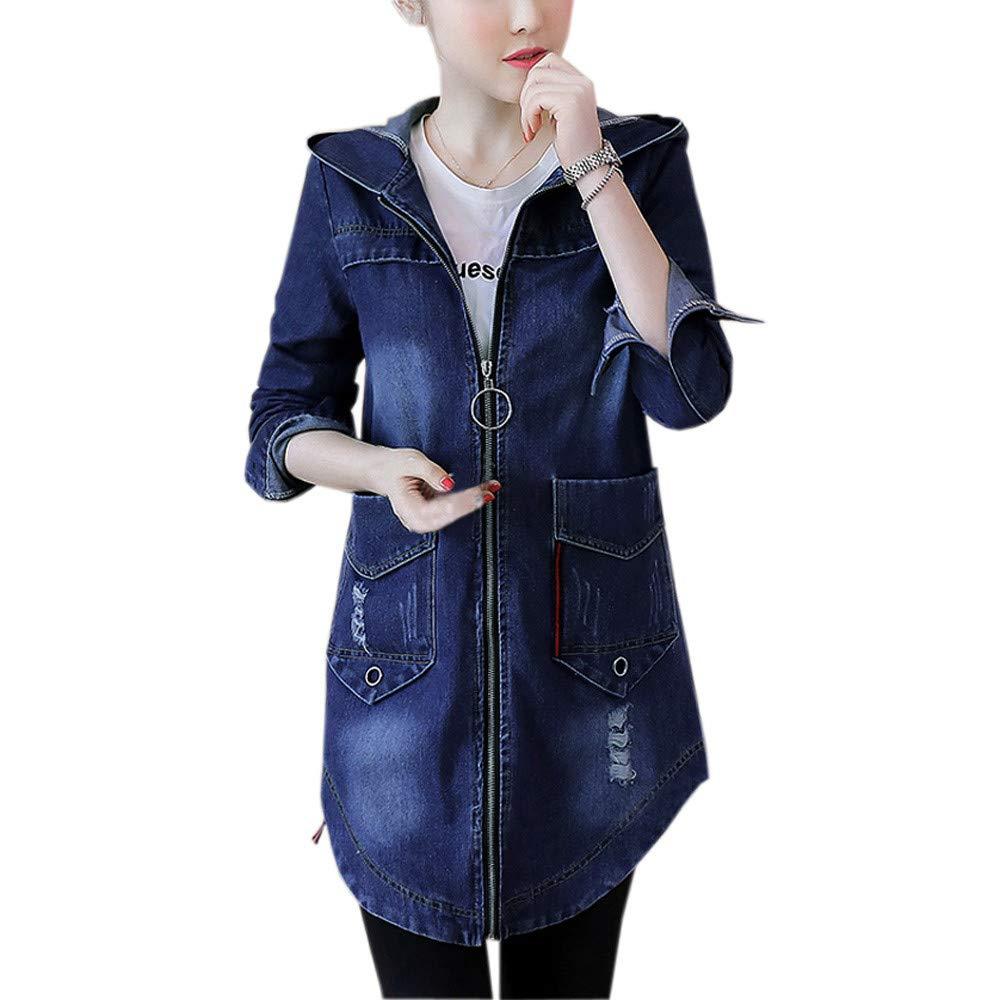 Beikoard Frauen großer Langer Mantel Lässige Jeansjacke Denim Outcoat Taschen mit Kapuze Jeans Outwear