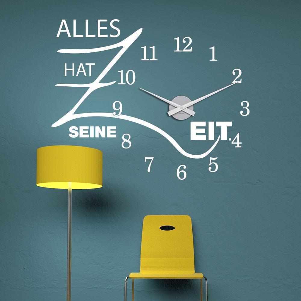 KLEBEHELD® Wandtattoo Uhr Alles hat hat hat seine Zeit mit Uhrwerk   Größe 68x55cm (B x H)   Uhr schwarz   Umlauf 44cm, Farbe lehmbraun B01MA63WRF Wandtattoos & Wandbilder 15d005