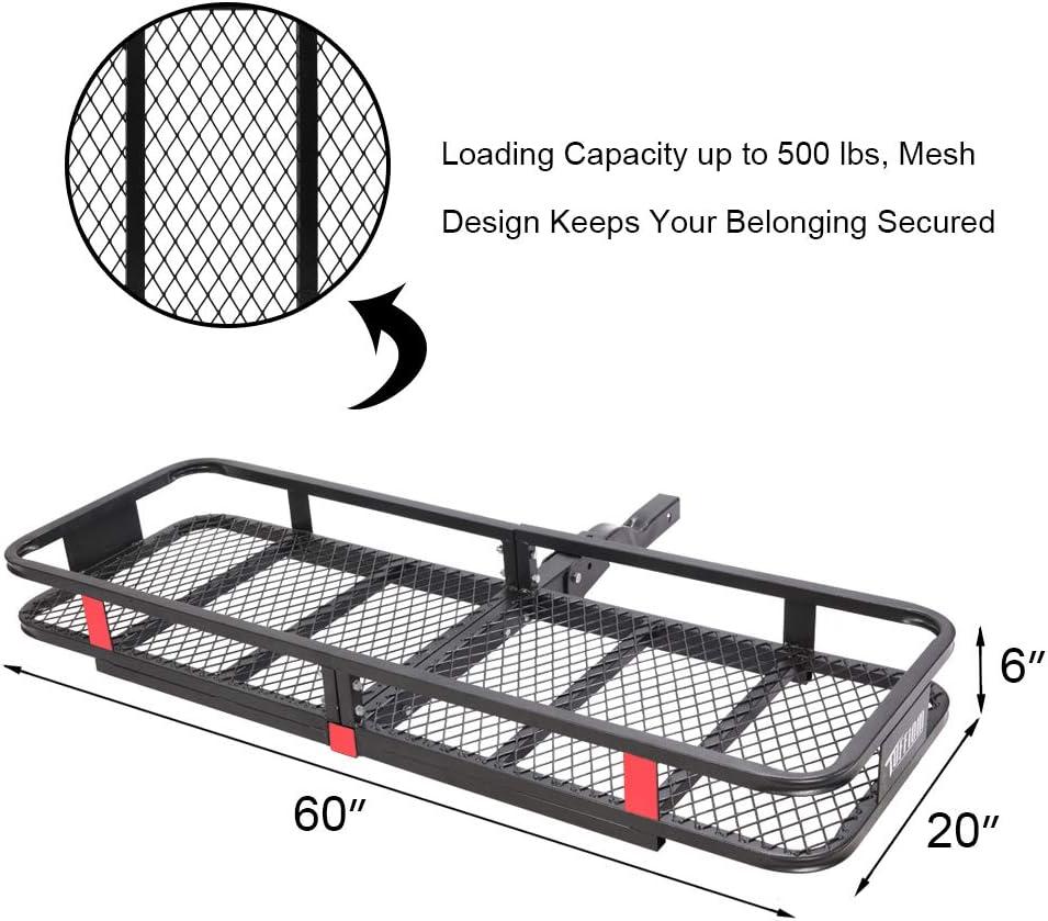 Hauling 500 Lbs Capacity Steel Basket w//Net /& Stabilizer Folding Shank Preserve Space TUFFIOM Upgraded Hitch Mount Cargo Carrier 60x20x6