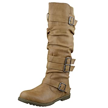 cd357c4efda Amazon.com  Womens Knee High Boots Strappy Ruched Leather Casual ...