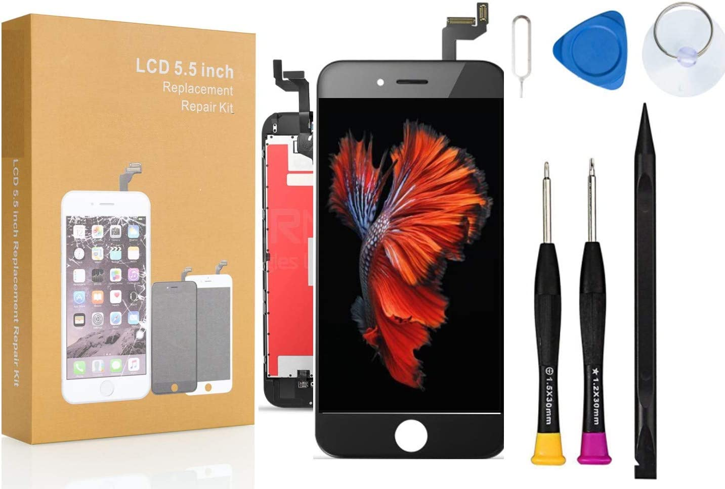 A1699 Compatible with iPhone 6S Plus Screen Replacement COASD LCD Digitizer Touch Screen Assembly Set with 3D Touch Model No: A1634 White A1687