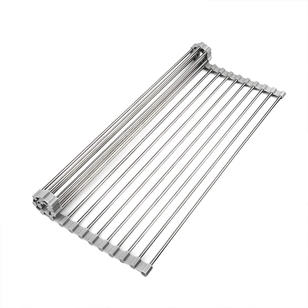 Roll-up Drying Rack for Sink 17.7 x 15.7 inch Over the Kitchen Sink Multipurpose Large Stainless Steel Foldable and Dishwasher Safe Heat Resistant (17.7x15.7 inch)
