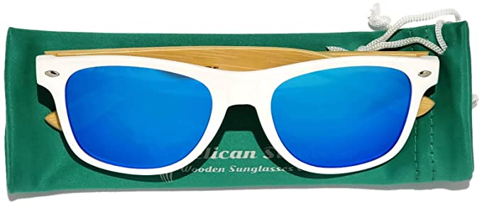 0c7b1c771a Wooden Polarized Sunglasses - Handmade Real Bamboo Wood Arms Wayfarer Style  by Pelican Sunwear (White