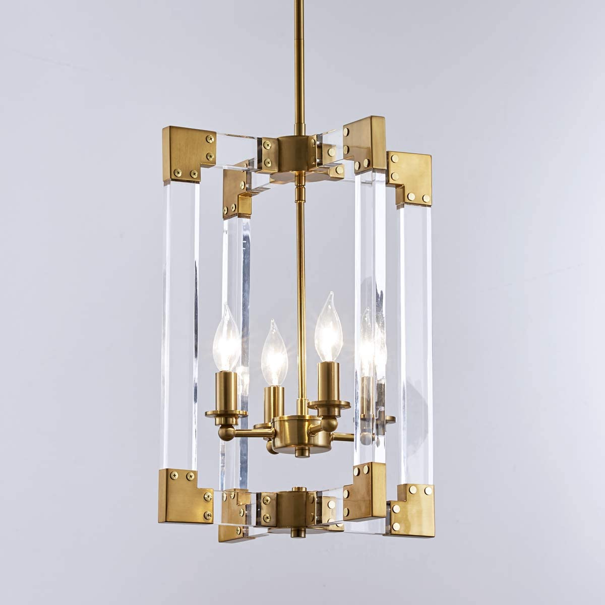 Reaketon Hanging Pendant Light Fixture-4 Light Rectangle Clear Brass Modern Chandelier Square Pendant Light Dining Room Bedroom Foyer Entryway Required CH2013-4H