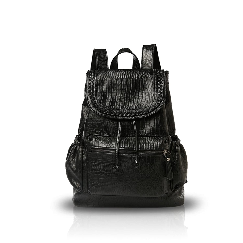 NICOLE&DORIS Girl College School Bag Travel Backpack Daypack Shoulder PU Fashion Durable Light Weight Hot Sale - Black