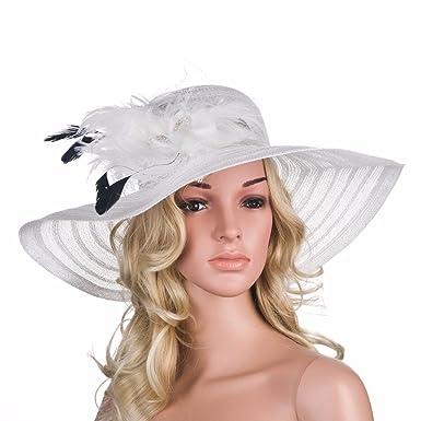6ec25cb5b578b6 Women Dress Hats Church Wedding Kentucky Derby Wide Brim Feather Veil Sun  Hat Female Floppy Hats