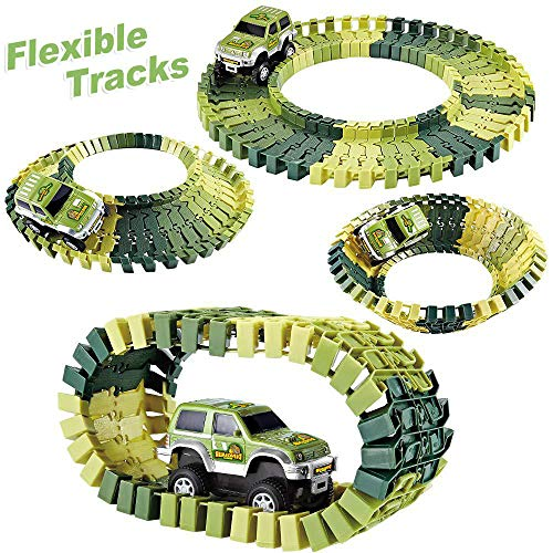 baccow Kids Dinosaur World Toys for 3 4 5 6 7 8 Year Old Boys and Girls, 142 Flexible Assembly Train Tracks Car Toys 2 Dinosaurs(Extra 1 Set Traffic Signs)