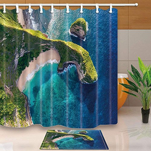 CdHBH Tropical Beach Cliff on the island of Nusa Penida Indonesia 71X71in Mildew Resistant Polyester Fabric Shower Curtain Suit With 15.7x23.6in Flannel Non-Slip Floor Doormat Bath Rugs by CdHBH
