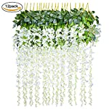 #1: 12 Pack 3.6 Feet/Piece Artificial Fake Wisteria Vine Ratta Hanging Garland Silk Flowers String Home Party Wedding Decor (White)