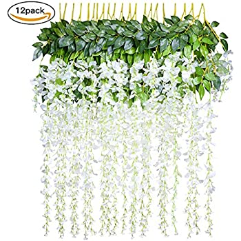 Amazon 4pcs 66ftpiece artificial flowers silk wisteria 12 pack 36 feetpiece artificial fake wisteria vine ratta hanging garland silk flowers string home party wedding decor white mightylinksfo Images