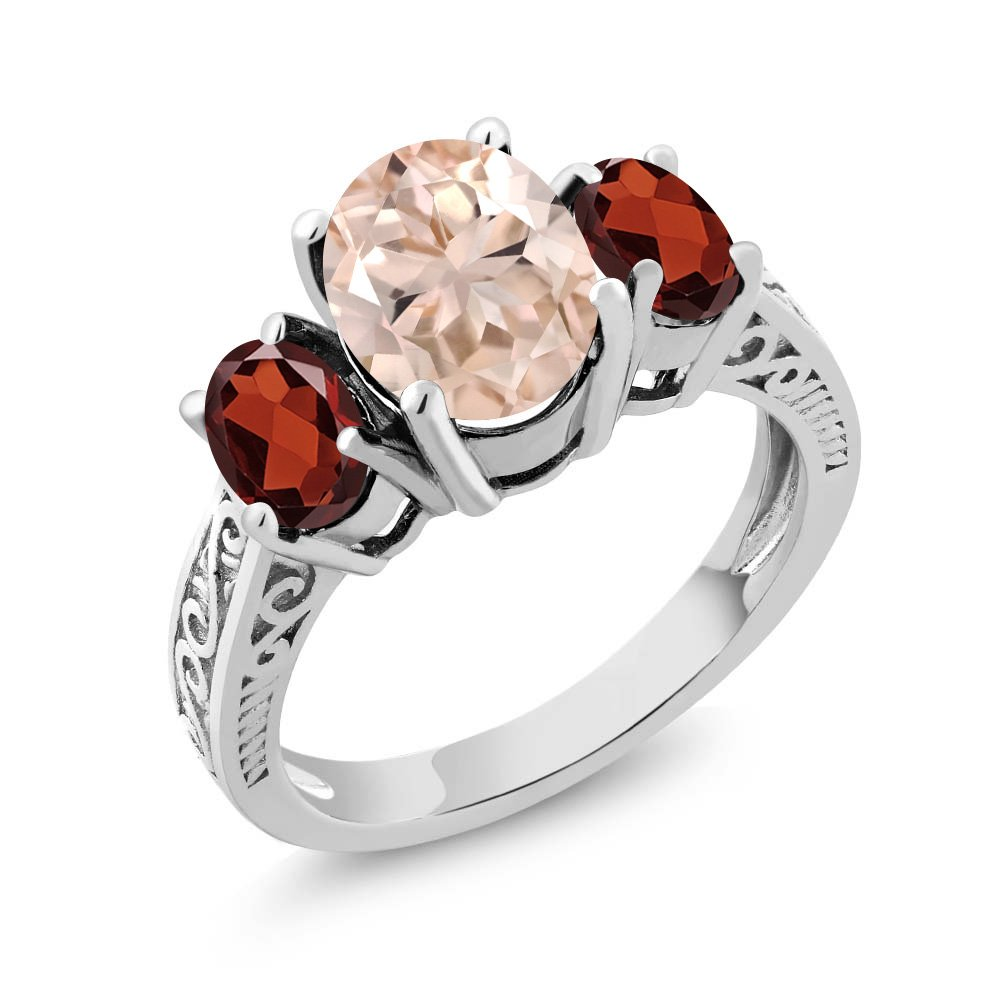 Gem Stone King 2.60 Ct Oval Peach Morganite Red Garnet 925 Sterling Silver 3Stone Ring