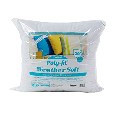 """Fairfield Poly-Fil Weather Soft Pillow Insert - Perfect for Outdoor Furniture, 20"""" x 20"""", White: Home & Kitchen"""