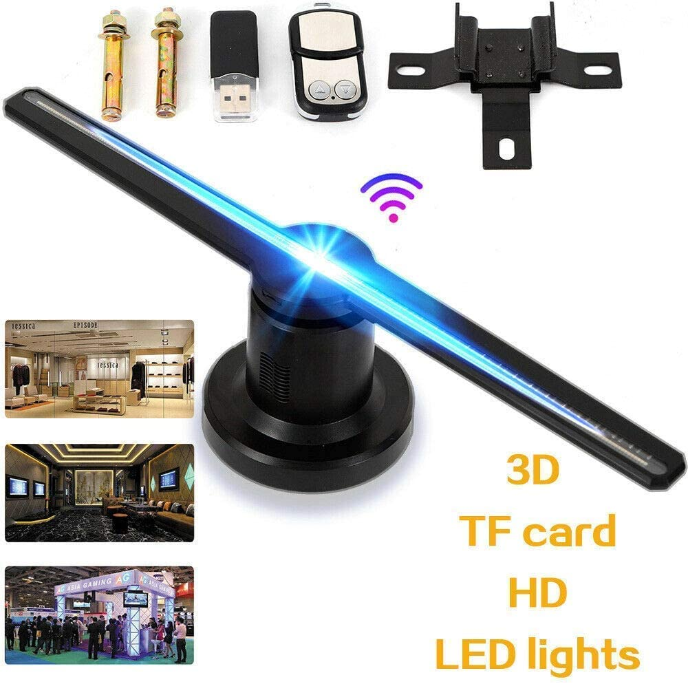 3D LED WiFi Holographic Projector Display Fan 16G TF Hologram Advertising Player
