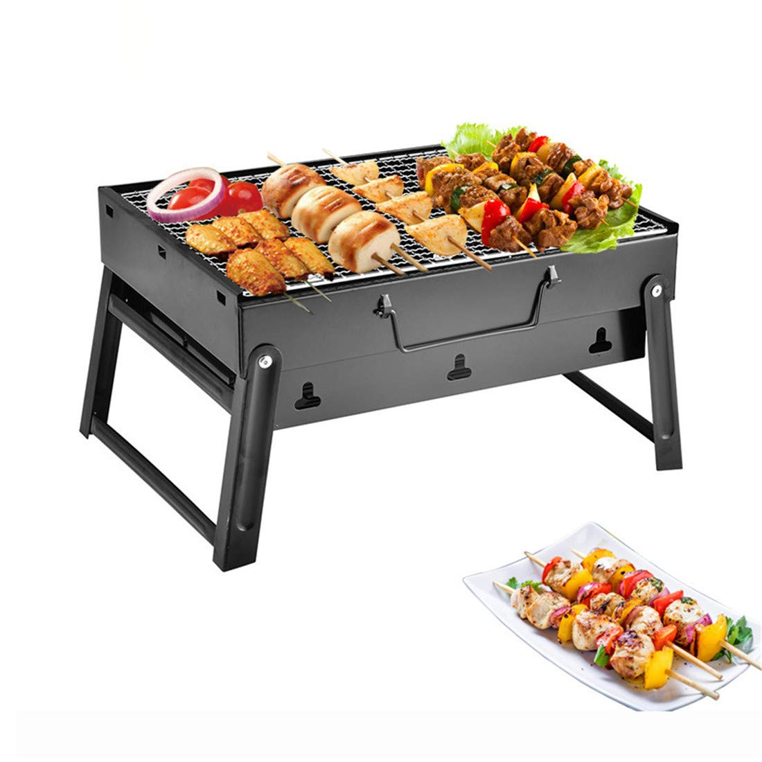 LHY TRAVEL Camping Outdoor tragbarer Grill Multi-Personen-Klapp-Mini-Home-Picknick-Set Holzkohlegrill Familie Outdoor-Kochreise