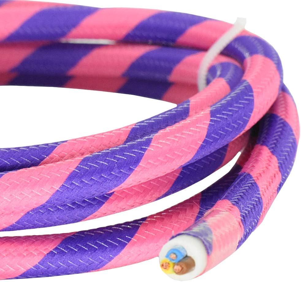 Cable de tela (3 m, color rosa neón y morado, Flex 3G 0,75 mm2, cable de tela para lámparas colgantes y pendulares, cable de alimentación con cable de tela)