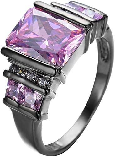 T/&F-Jewelry Pink Sapphire Geometric Rings Black Gold Filled For Women Wedding Engagement Rings