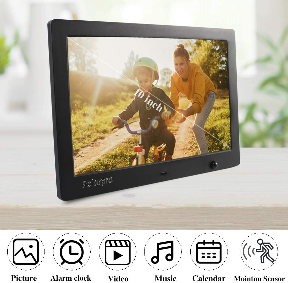 Polarpra Digital Picture Frames,10 Inch Photo Frame Digital HD LCD 1024x600 16:9 Widescreen Digital Frame 1080P Video Picture Slideshow,Music Around,Motion Sensor,SD/&USB Port and Remote Control-Black