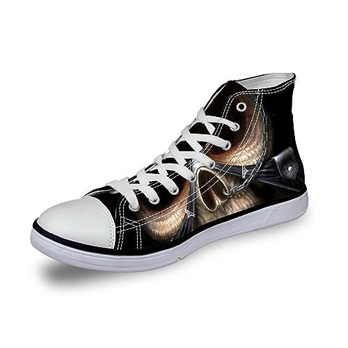 Amazon.com: Para U diseños Punk calavera para hombre zapatos ...