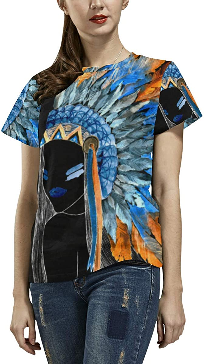 Native Printed Tops Tee Summer Female Tribal Aztec Symbols Doodle Short Sleeve Ladies T-Shirt