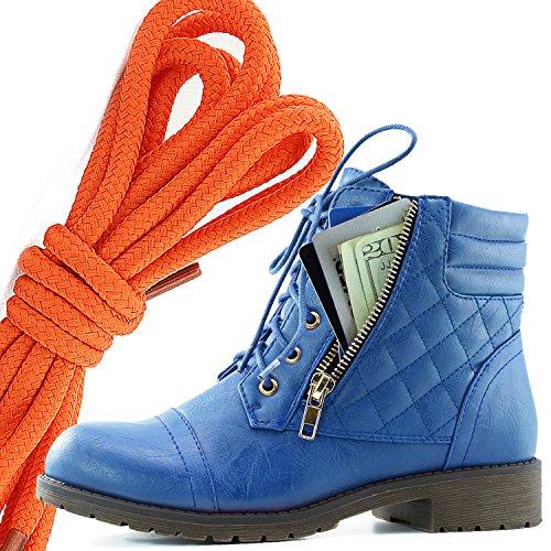 Botas De Combate De Bufanda Con Cordones Militar Para Mujer DailyZapatos Bolsillo De Tarjeta De Crédito Exclusivo De Tobillo Con Altas, Naranja Azul Pu