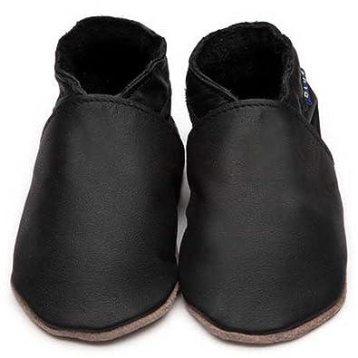 Inch Blue niñas niños funda de piel suave suela zapatos de para cochecito de bebé, color negro, color negro, talla S 0-6 Meses 10,5 cm, Claro Bolsa