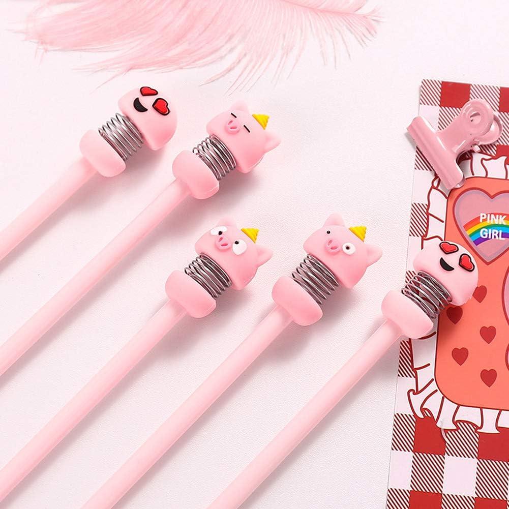 DSstyles 0.5mm Sign Pen,Gel Pen Cartoon Piggy Shaking Head Rollerball Pen Black Stationery Surprised Pig 0.5mm