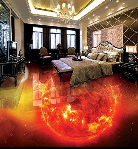 LWCX PVC Vinyl Flooring Fire Burning Earth Murals Wallpaper Flooring PVC for Living Room 3D Stereoscopic Wallpaper 250X175CM